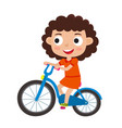 cartoon curly girl riding a bike having fun riding vector image vector image