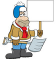 cartoon weary man holding a snow shovel and a sign vector image vector image