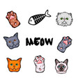 cats design elements set kitty face paws fish vector image vector image
