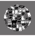 cats pets items simple black and white icons in vector image vector image