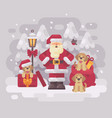 cheerful santa claus with three puppies and a bag vector image