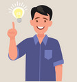 concept a great idea man shows gesture vector image vector image