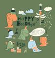 cute cartoon dinosaurs celebrating christmas vector image vector image