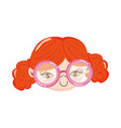 cute face little girl with glasses character vector image vector image