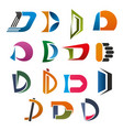 d icon abstract letter font for business design vector image