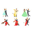 dancing couples set male and female dancers vector image