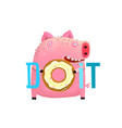 do it sign with fat pig holding donut vector image vector image