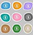 Dollar icon sign Multicolored paper stickers vector image