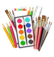 drawing tools realistic brush watercolor vector image vector image