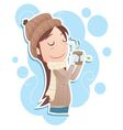 drinking hot tea vector image vector image