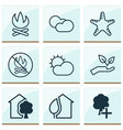 eco-friendly icons set with cloudy weather sunny vector image vector image