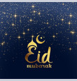 eid mubarak festival card with stars and sparkles vector image vector image