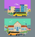 elementary and high school flat concepts vector image vector image