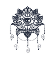 Eye on Lotus Tattoo vector image vector image