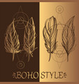 feathers a set of elements in the style of boho vector image vector image