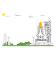 flat design shuttle launch site vector image vector image