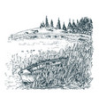 hand drawn a forest lake view vector image vector image