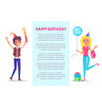 happy birthday invitation man and woman greetings vector image