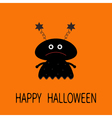 Happy Halloween card Black silhouette girl monster vector image vector image