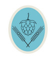 hop and barley emblem icon label logo beer pub vector image