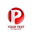initial letter p logo template colored silver red vector image vector image