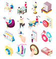 isometric management icons collection vector image