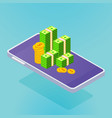 isometric smartphone with money vector image vector image