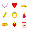 jewelry icon set flat style vector image vector image