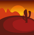 landscape of sunset in dry wild desert vector image