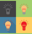 light bulb icon set in flat and outline style vector image vector image