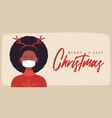merry and safe christmas african woman in deer vector image