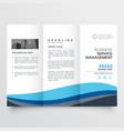 modern trifold leaflet brochure design in blue vector image vector image