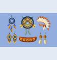 native american indian symbols set ethnic design vector image vector image
