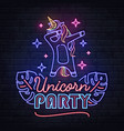 neon sign dabbing unicorn with tropic leaves vector image vector image