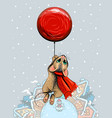 new year card with a cute mouse flying on a red ba vector image vector image