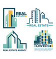 real estate agency emblem with skyscrapers vector image