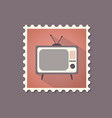 retro style tv set flat stamp with shadow vector image