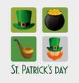 saint patrick day set icons vector image