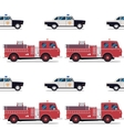 seamless pattern of the fire engine and police car vector image vector image