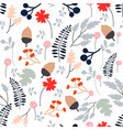 seamless pattern wild spring flower and leave vector image vector image
