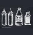 set hand drawn chalk sauce bottles vector image