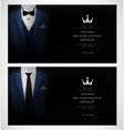 set of blue tuxedo business card templates with bl vector image vector image