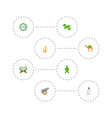 set of holiday icons flat style symbols with vector image
