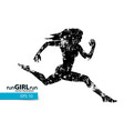 silhouette a running girl vector image