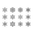 snowflakes isolated on white background doodle vector image vector image