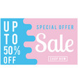 special offer sale up to 50 off blue and pink bac vector image vector image