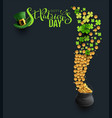 st patricks day type green hat and clover coins vector image