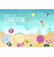 summer vacation banner with top view of people vector image vector image