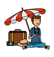 tourist man with suitcase and umbrella vector image vector image