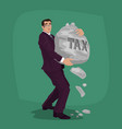 unhappy businessman carry rock with lettering tax vector image
